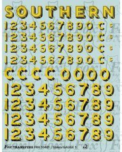 SR Bulleid Sunshine Lettering/Numbering 1941-1948