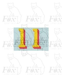(14.75mm high) Yellow/red shadow - 1 pair number 1