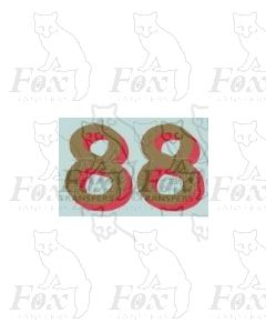 (14.75mm high) Gold/red shadow - 1 pair number 8