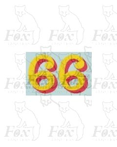 (14.75mm high) Yellow/red shadow - 1 pair number 6