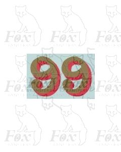 (14.75mm high) Gold/red shadow - 1 pair number 9