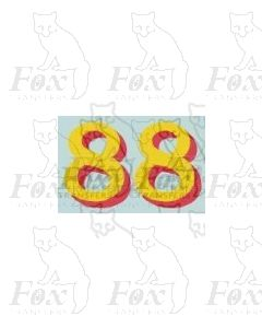 (14.75mm high) Yellow/red shadow - 1 pair number 8