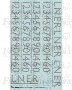 LNER Garter Blue Class A4 Streamlined Loco Lettering/Numbering