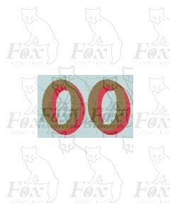 (14.75mm high) Gold/red shadow - 1 pair number 0