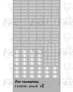 Class 55  Pre-TOPS D numbersets AND TOPS numbering - fully made up, white