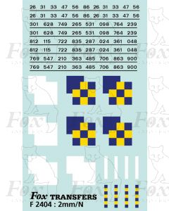 Rf Construction/Trainload Construction (smaller size) Symbols/TOPS numbering  (Classes 26/31/33/47/56/86)