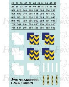 Rf Metals/Trainload Metals (smaller size) Symbols/TOPS numbering  (Classes 26/31/33/47/56/86)
