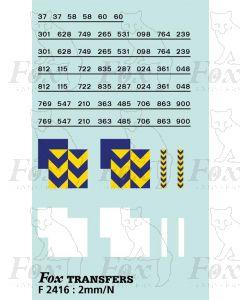 Rf Metals/Trainload Metals (larger size) Symbols/TOPS numbering  (Classes 37/58/60)