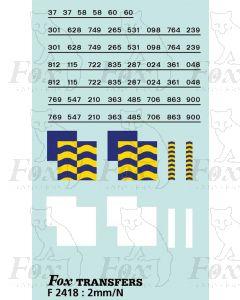 Rf Petroleum/Trainload Petroleum (larger size) Symbols/TOPS numbering  (Classes 37/58/60)