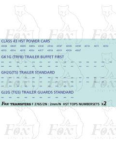 GNER HST/Mk3 TOPS Numbersets