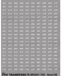 BRS FLEET NUMBERS - white  601-700