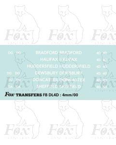 BRANCH NAMES -  BRADFORD, HALIFAX, HUDDERSFIELD, DEWSBURY, DONCASTER, SHEFFIELD