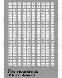 Garage Codes - 100 Pairs of stencil running numbers (1-100)