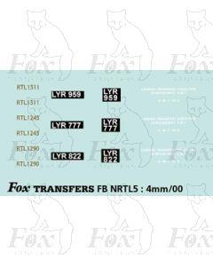 3 Green RTL 1311, 1245, 1290 - Legal Lettering Set