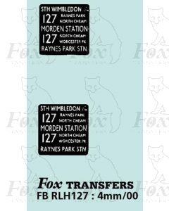 DESTINATION SCREENS - STH WIMBLEDON - MORDEN STN -RAYNES PARK