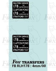 DESTINATION SCREENS - DALSTON GAR - CLAPTON POND -STRATFORD