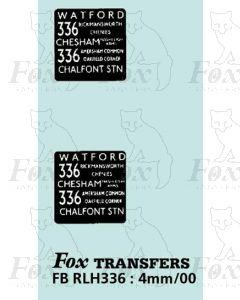 DESTINATION SCREENS - WATFORD - CHESHAM - CHALFONT STN