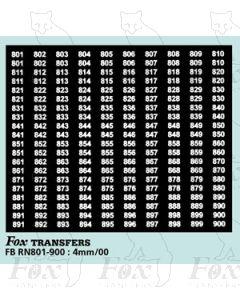 Numberplate Numbers - (801-900) - white on black