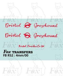 FLEETNAME SET - Bristol Greyhound plus Bristol Omnibus Co for rear, red