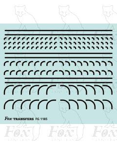 Corners in black - Radius Corners, 3 sizes 0.75mm
