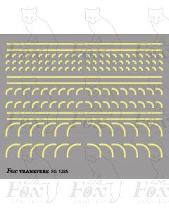 Corners in off-white (straw) - Radius Corners, 3 sizes 0.75mm