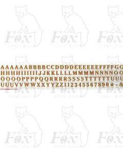 Alphabets in gold with red shadow - Cheltenham Bold, 9mm