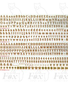 Alphabets in gold with red shadow -  4 sheets Cheltenham Bold, 9mm