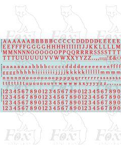 Alphabets in red - Cheltenham Medium, 10mm