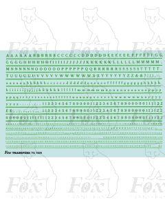 Alphabet in green - Cheltenham Medium, 2mm & 1mm