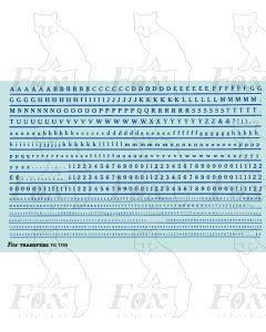 Alphabet in blue - Cheltenham Medium, 2mm & 1mm