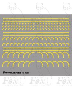 Corners in yellow - Radius Corners, 3 sizes 0.75mm