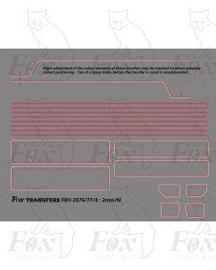 Standard Class 5MT 4-6-0 73XXX or 4MT 4-6-0 75XXX BR1/BR2 Loco Lining Set