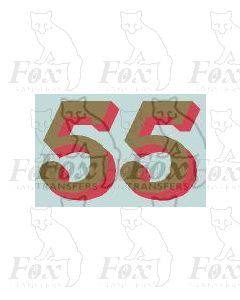 (14.75mm high) Gold/red shadow - 1 pair number 5