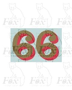 (14.75mm high) Gold/red shadow - 1 pair number 6