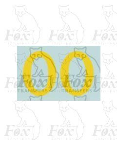 (11.25mm high) Yellow - 1 pair number 0