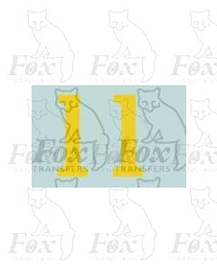 (13.5mm high) Yellow - 1 pair number 1