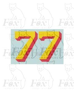 (14.75mm high) Yellow/red shadow - 1 pair number 7