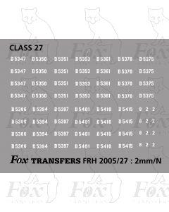 Pre TOPS 27 Class Locomotive Numbersets