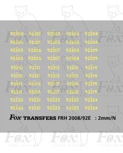 Cabside Numbersets for BR Standards (92200-92224)