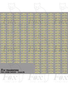 Steam Cabside Numbersets 34001-34110
