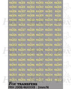 Steam Cabside Numbersets 46200-46257