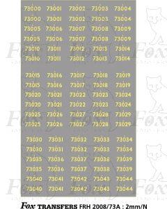 Cabside Numbersets for BR Standards