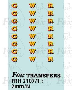 GWR Locomotive Initials yellow/red/black