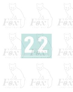 White numbers - 10mm high - 1 pair number 2