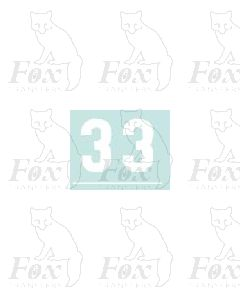 White numbers - 10mm high - 1 pair number 3