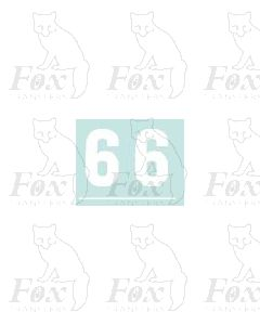 White numbers - 10mm high - 1 pair number 6