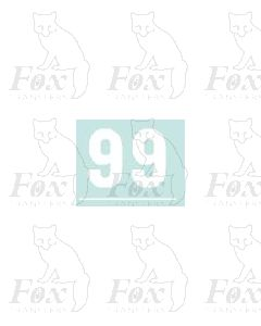 White numbers - 10mm high - 1 pair number 9