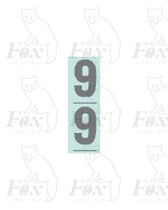Silver - 9.75mm high - 1 pair number 9