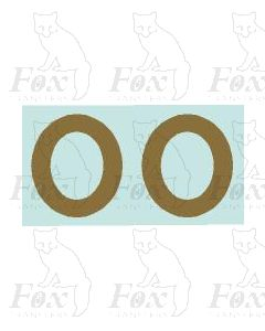 (11mm high) Gold -1 pair number 0