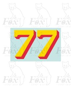 (20.75mm high) Yellow/red shadow - 1 pair number 7